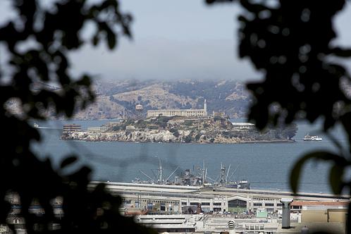 A view of Alcatraz Island off the coast of San Francisco