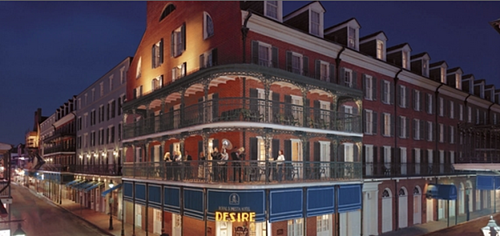 View of Hotel Exterior, Desire Corner, one of the most photographed sites in the French Quarter